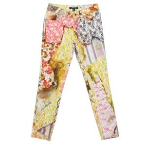 Just Cavalli Multicolor Floral printed Cotton Skinny Leg Trousers XS