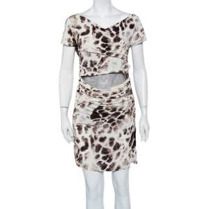 Just Cavalli Beige Printed Knit & Brown Mesh Paneled Ruched Mini Dress L