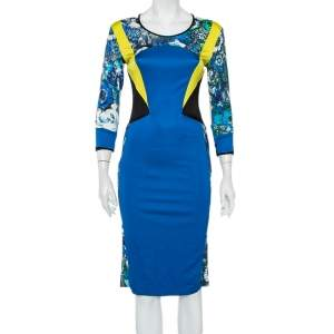 Just Cavalli Multicolor Paneled Jersey Sheath Dress M