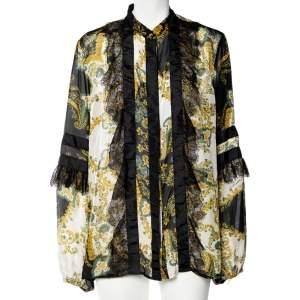 Just Cavalli Black Printed Silk Lace Trim Button Up Blouse L