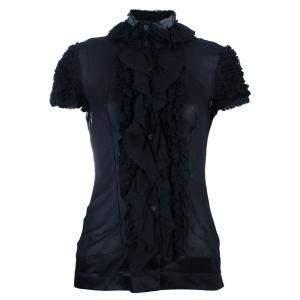 Just Cavalli Black Ruffle Detail Top M