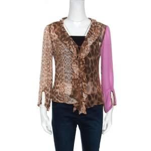 Just Cavalli Leopard Printed Sheer Criss Cross Tie Up Detail Ruffled Blouse M