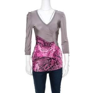 Just Cavalli Grey and Pink Animal Printed Ruched Long Sleeve Top S