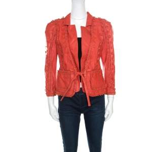 Just Cavalli Red Floral Appliqued Leather Jacket M