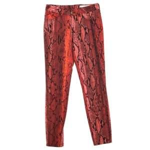 Just Cavalli Red Python Printed Denim Skinny Jeans S