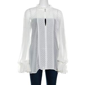 Just Cavalli White Crepe Ruffled Cuff Lace Neck Trim Detail Studded Blouse M