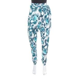 Just Cavalli White and Blue Shell Printed Draped Tie Detail Pants M