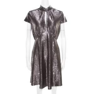Just Cavalli Silver Textured Short Sleeve Keyhole Detail Dress M