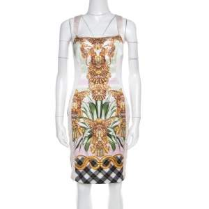 Just Cavalli Multicolor Printed Satin Square Neck Sleeveless Dress S