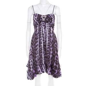 Just Cavalli Purple and Black Animal Printed Silk Tie Detail Sleeveless Dress S