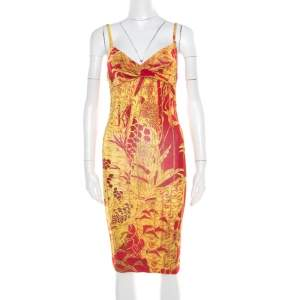 Just Cavalli Red and Yellow Printed Jersey Sleeveless Midi Dress S