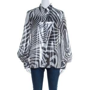 Just Cavalli Metallic Black and White Silk and Lurex Animal Print Shirt M