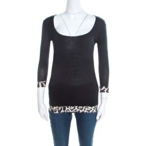 Just Cavalli Black Jersey Animal Printed Trim Scoop Neck T-Shirt S