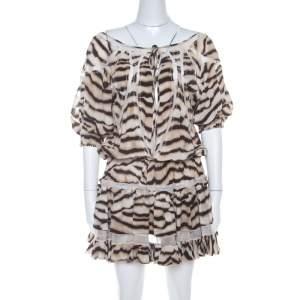 Just Cavalli Tiger Stripe Print Mesh Insert Smocked Waist Dress S