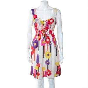 Just Cavalli Multicolor Geometric Print Cotton Voile Sleeveless Dress M