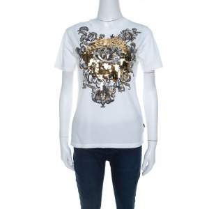 Just Cavalli White Cotton Jersey Sequin Paillette Embellished T-Shirt M