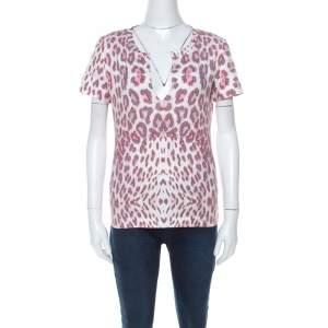 Just Cavalli Multicolor Leopard Print Slit Neck T-Shirt S