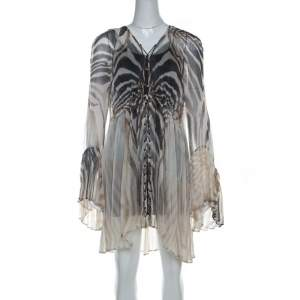 Just Cavalli Cream and Grey Tiger Printed Silk Tie Front Sheer Dress L