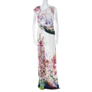 Just Cavalli Multicolor Floral Print Jersey Draped Maxi Dress L