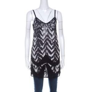 Just Cavalli Black & White Chevron Print Lace Trim Long Camisole Top S