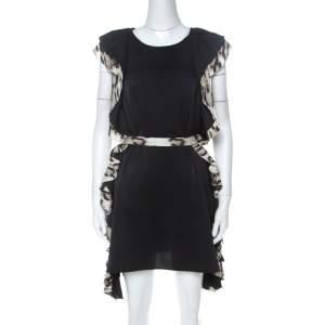 Just Cavalli Black Layered Ruffle Trim Cocktail Dress S