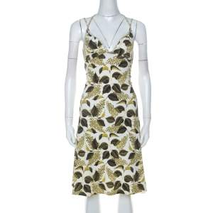 Just Cavalli Green Leaf Printed Cotton Jersey Flared Dress S