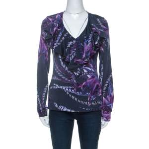 Just Cavalli Navy Blue & Purple Printed Stretch Ruffle Collar Detail Top M