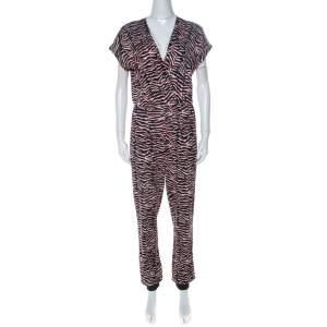 Just Cavalli Multicolor Zebra Print Fold Over Neck Jumpsuit S