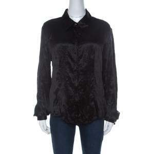 Just Cavalli Black Satin Contrast Collar and Cuff Button Front Shirt L