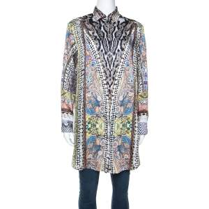 Just Cavalli Multicolor Printed Satin Button Front Blouse M