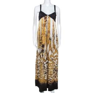 Just Cavalli Multicolor Printed Silk Pleated Bodice Detail Maxi Dress L