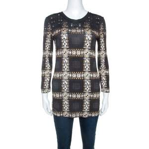 Just Cavalli Black Printed Knit Stud Embellished Long Sleeve Top  M