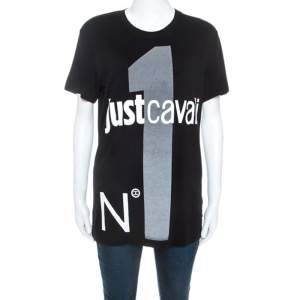 Just Cavalli Black Logo Print Jersey Oversized T-shirt XXS