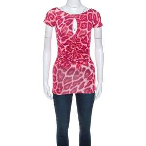 Just Cavalli Red Leopard Print Ruched Detail Top S