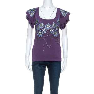 Just Cavalli Purple Stretch jersey Floral Embossed Detail Top M