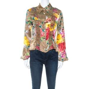Just Cavalli Multicolor Floral Print Satin Ruffle Trim Cropped Shirt M