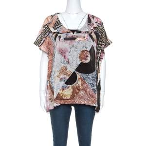 Just Cavalli Multicolor Printed Silk Top M