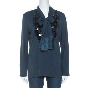 Just Cavalli Teal Sequin Detail Tie Neck Long Sleeve Top L