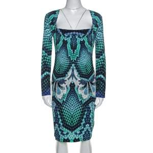 Just Cavalli Blue Snake Print Stretch Knit Long Sleeve Dress L