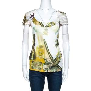 Just Cavalli Multicolor Printed Silk Neck Tie Detail Top M