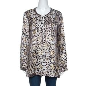 Just Cavalli Beige Leopard Print Silk Lurex Jacquard Detail Blouse M