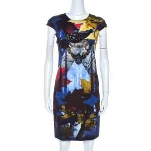 Just Cavalli Multicolor Printed Stretch Knit Sheath Dress M