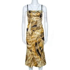 Just Cavalli Multicolor Animal Print Textured Sleeveless Dress M