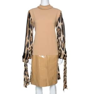 Just Cavalli Beige Crepe Paneled & Pleated Midi Dress M