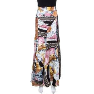 Just Cavalli Multicolor Printed Satin Flared Maxi Skirt M