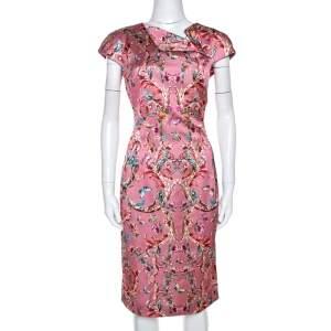 Just Cavalli Pink Baroque Print Satin Sheath Dress M