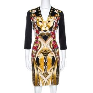 Just Cavalli Black Leo Butterfly Print Jersey Fitted Dress L
