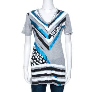 Just Cavalli Grey Graphic Logo Print Modal T-Shirt M