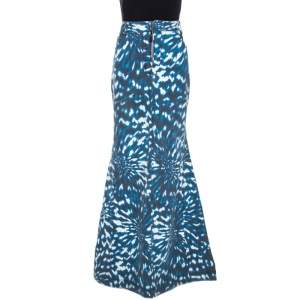 Just Cavalli Grey & Blue Abstract Print Denim Maxi Skirt L