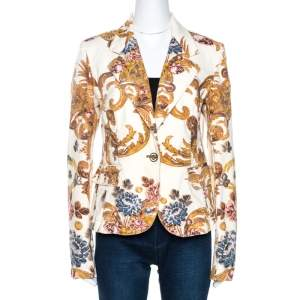 Just Cavalli Cream Floral Print Cotton Jacket M
